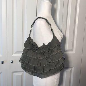 Handbags - Olive Green Ruffle Bag
